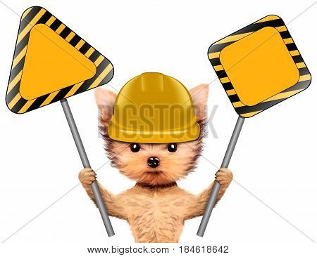 Funny dog in yellow hard hat with road signs isolated on white. Concepts for web banners, web sites. Fixing computer and repair center concept with cute dog. 3D illustration with clipping path