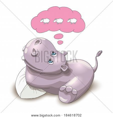 Vector illustration of a baby hippo counting sheep, on a white background