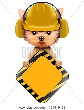 Funny dog in hard hat and earphone with road sign isolated on white. Concepts for web banners, web sites. Fixing computer and repair center concept with cute dog. 3D illustration with clipping path