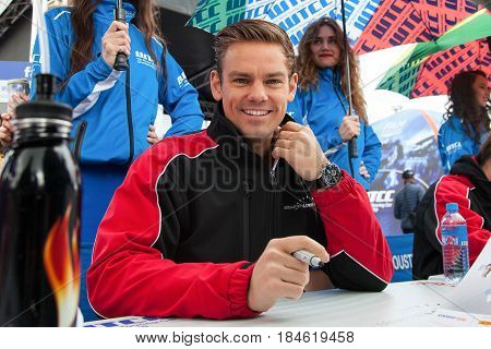 Moscow, Russia - 12 June 2016: world championship WTCC at the Moscow Raceway. Thomas James Tom Chilton from the team of Sebastien Loeb Racing at the autograph session