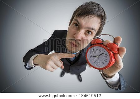 Angry Manager Is Showing Clock. Discipline Concept. View From To