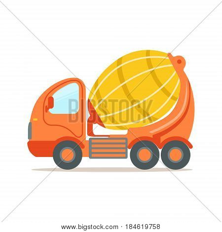 Orange concrete mixing truck. Construction machinery equipment colorful cartoon vector Illustration isolated on a white background
