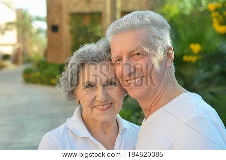 Portrait of a happy elderly couple embracing