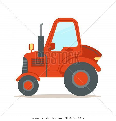 Red tractor, heavy agricultural machinery colorful cartoon vector Illustration isolated on a white background