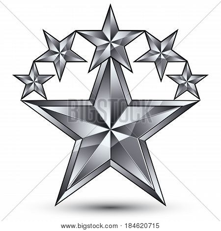 Geometric vector classic silver element isolated on white backdrop 3d gray decorative stars silvery shaped blazon.