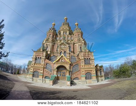 Russia suburb of Saint Petersburg the St. Peter and Paul Cathedral. lens fish eye