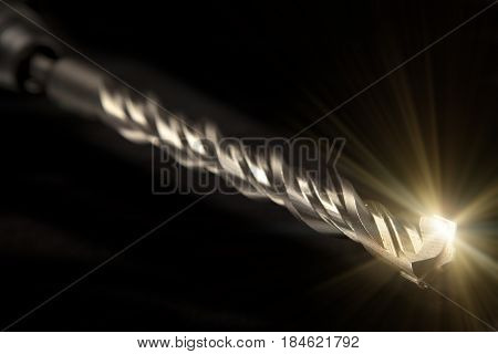 drill of the industrial puncher on black background