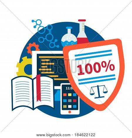 Intellectual property rights. Vector illustration, flat design. Concept for copyright for software, books, mobile apps, invention or device, patents etc. Patent and licensing legal protection.