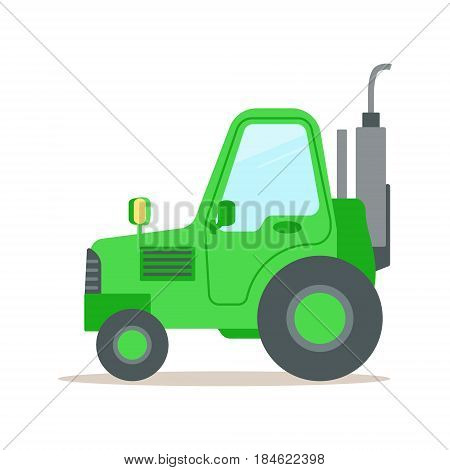 Green tractor, heavy agricultural machinery colorful cartoon vector Illustration isolated on a white background