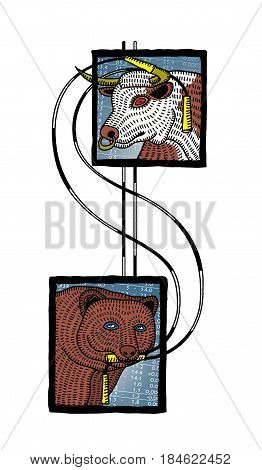 Head of a bull and a bear tied with a dollar sign made from striped skipping ropes. Equity and IPO in fitness. In the style of Russian lubok Isolated on white background