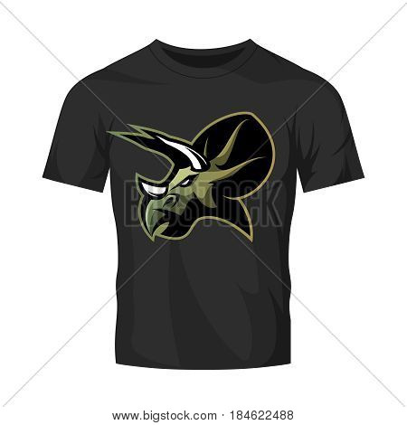 Furious dinosaur sport club vector logo concept isolated on black t-shirt mockup. Modern professional team badge mascot design. Premium quality wild reptile t-shirt tee print illustration. Savage monster icon.