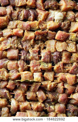 Fresh raw pork meat, shashlik on skewers. Top View