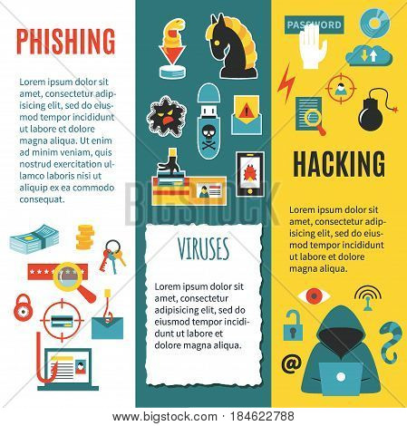 Hacking, phishing and cyber crime - vertical vector banner template with icons of gadgets and hacker's activities, title and place for your text. Flat style. For web and paper ads.