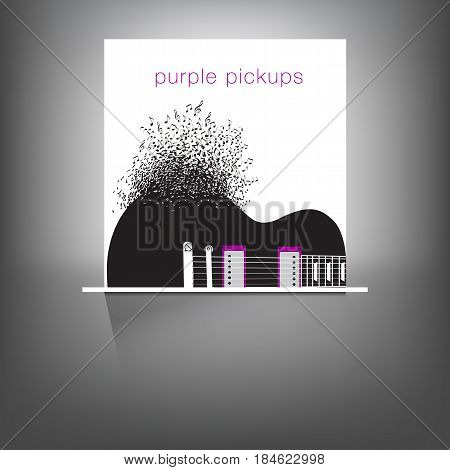 Abstract guitar music background illustration for use in design