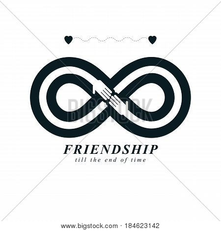 Infinity sign with two hands touching each other infinite friendship concept forever friends vector creative logo.
