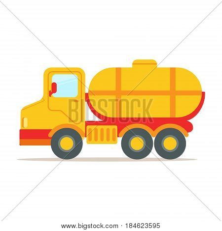 Cargo truck with tank for transporting liquids, colorful cartoon vector Illustration isolated on a white background