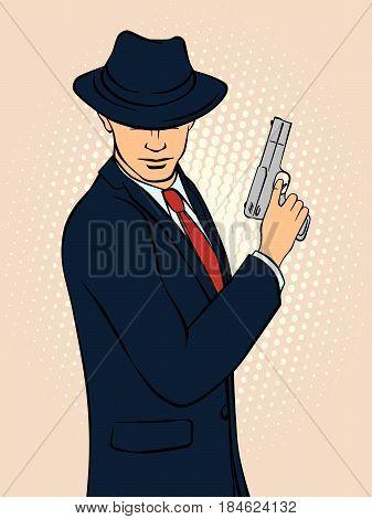 Mafioso with Gun. Pop Art Mafia Boss. Retro style pop art. Vector illustration