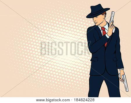 Gangster with Gun. Pop Art Mafia Boss. Retro style pop art. Vector illustration