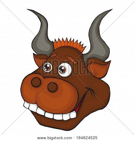 Bull's head. Cartoon style. Isolated image on white background. Clip art for children.