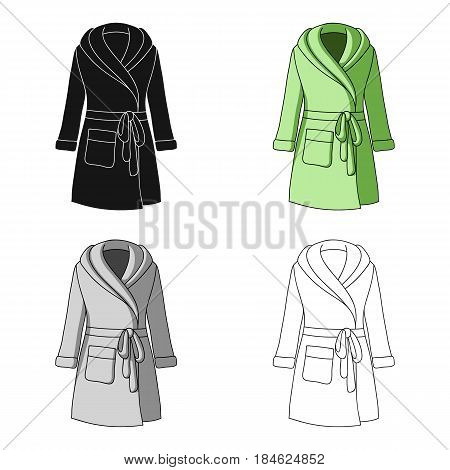 Green lady's gown after bath. Home clothes for women. Woman clothes single icon in cartoon style vector symbol stock web illustration.