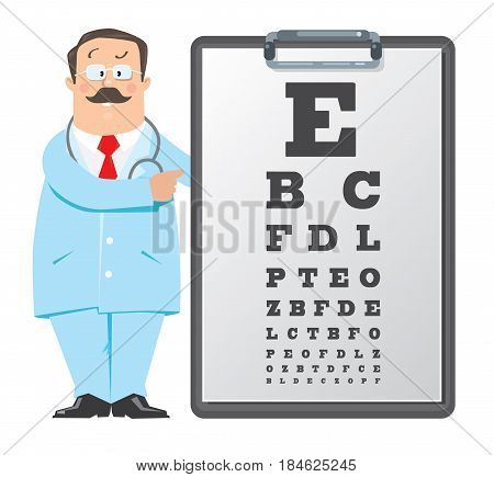 Funny man doctor optician in white coat with stethoscope, with Snellen eye chart. Design template background