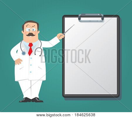 Funny man doctor in white coat with stethoscope, with pointer, on dark-green background with clipboard for prescription. Design template background