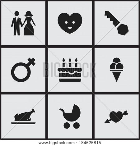 Set Of 9 Editable Family Icons. Includes Symbols Such As Married, Perambulator, Patisserie And More. Can Be Used For Web, Mobile, UI And Infographic Design.
