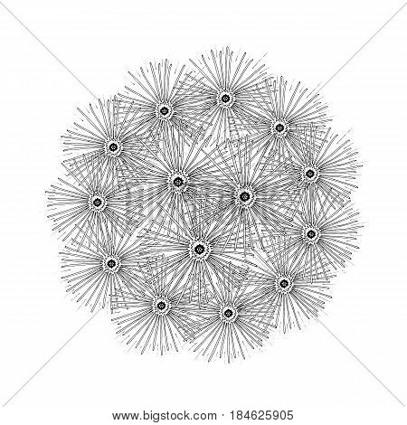 beautiful sketch dandelion isolated. Hand-drawn spring blowball flower.Coloring book page. design greeting card and invitation of the wedding, birthday, Valentine's Day, spring day, mother's day