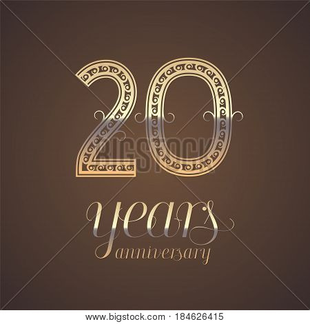 20 years anniversary vector icon symbol. Graphic design element with golden number for 20th anniversary greeting card
