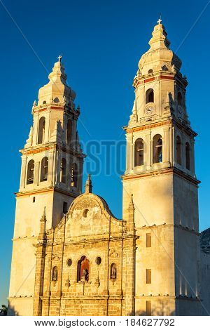 Campeche Cathedral Golden Hour