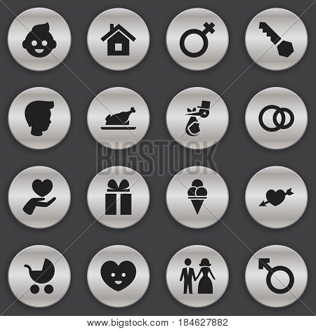 Set Of 16 Editable Kin Icons. Includes Symbols Such As Boy, Child, Gift And More. Can Be Used For Web, Mobile, UI And Infographic Design.