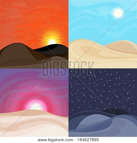 Colorful desert landscapes set with dunes at sunrise sunset night and day time vector illustration
