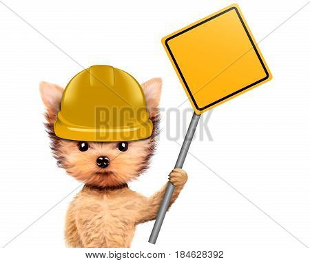 Funny dog in yellow hard hat with road sing isolated on white. Concepts for web banners, web sites. Fixing computer and repair center concept with cute dog. 3D illustration with clipping path