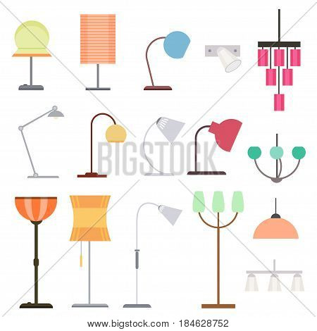 Colorful indoor lights collection with different kinds of floor table lamps and hanging chandeliers isolated vector illustration