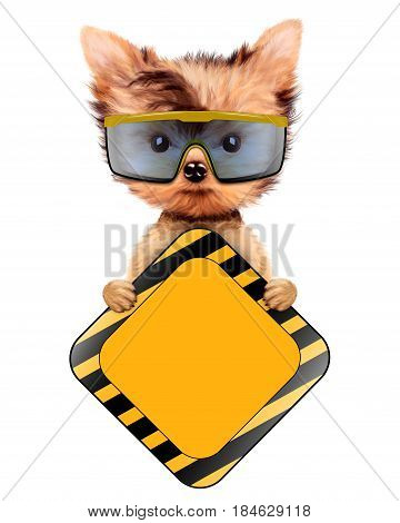 Funny dog in safety glasses with road sing isolated on white. Concepts for web banners, web sites. Fixing computer and repair center concept with cute dog. 3D illustration with clipping path