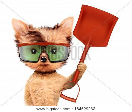 Funny dog in safety glasses with shovel isolated on white background. Concepts for web banners, web sites. Fixing computer and repair center concept with cute dog. 3D illustration with clipping path