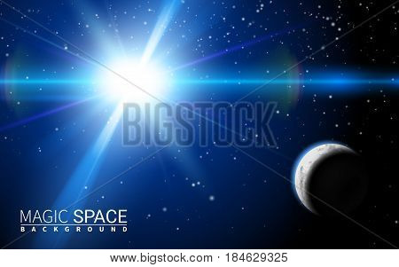 abstract space background with stars and moon. Effect Realistic Design Elements. Vector Illustration Modern Background.
