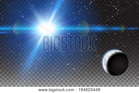 Planet Shining Sun Abstract Space Stars Moon. Effect Realistic Design Elements. Vector Illustration transparent background.