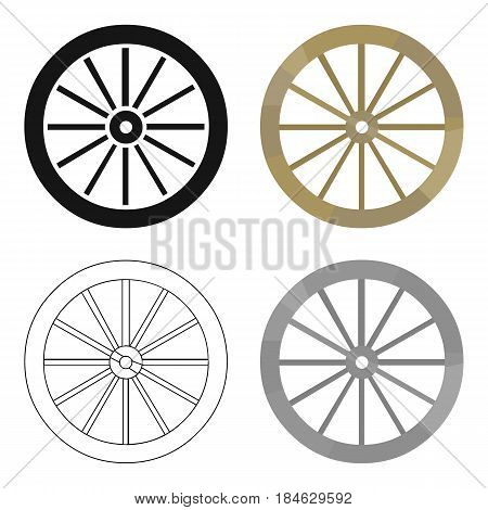 Cart-wheel icon cartoon. Singe western icon from the wild west cartoon.