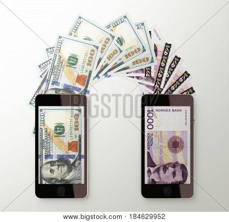 International mobile money transfer with smart phone. Dollar to Norwegian kroner. 3d rendered illustration.
