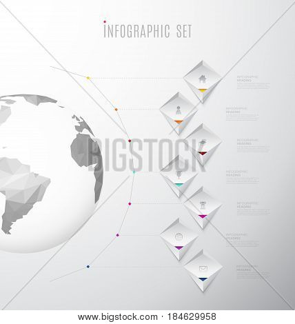 Infographic company template with seven labels and icons line up beside polygonal map - light version.