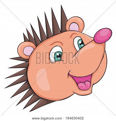 Hedgehog's head. Cartoon style.  Isolated image on white background. Clip art for children.
