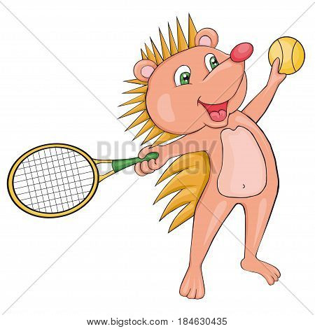 Blond Hedgehog plays tennis. Cartoon style. Clip art for children.