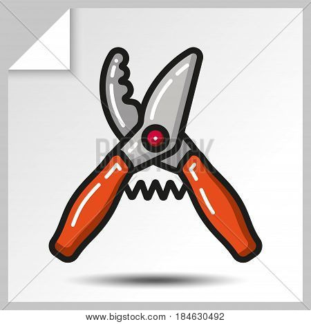 Secateurs of garden tool icon. Vector Isolated flat colorful illustration.