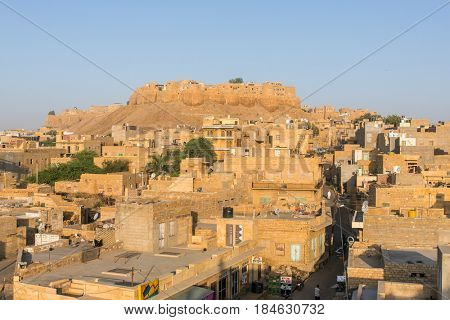 Jaisalmer, India - March 12, 2016: Jaisalmer city view with the fort on the hill, Rajasthan, India