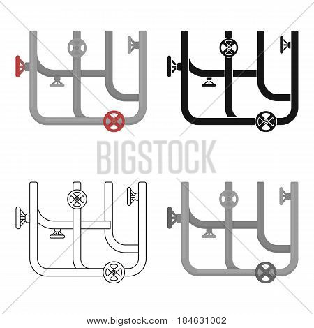 Pipes with valves icon in cartoon style isolated on white background. Plumbing symbol vector illustration.