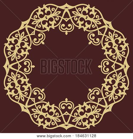 Oriental vector rounad golden pattern with arabesques and floral elements. Traditional classic ornament. Vintage pattern with arabesques