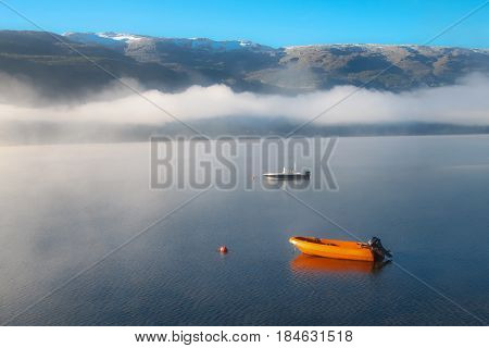 Norway Foggy View Of Lake