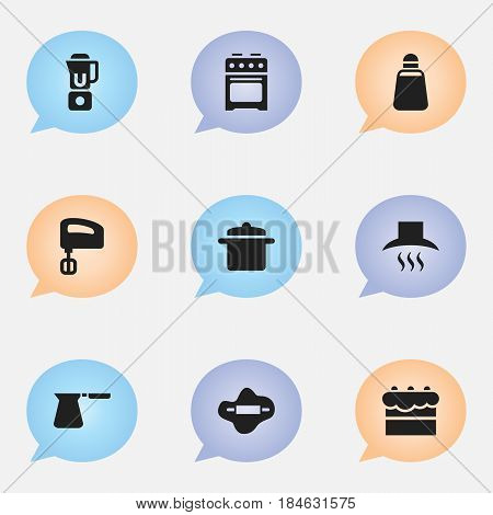 Set Of 9 Editable Cooking Icons. Includes Symbols Such As Dough, Kitchen Hood, Coffee Pot And More. Can Be Used For Web, Mobile, UI And Infographic Design.