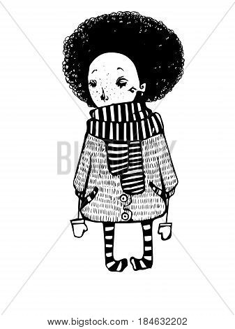 Sad girl with afro in coat polo-scarf and striped pantyhose vector graphics